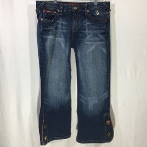 Baby Phat   Crop Jeans   Big Gold Buttons on Crop